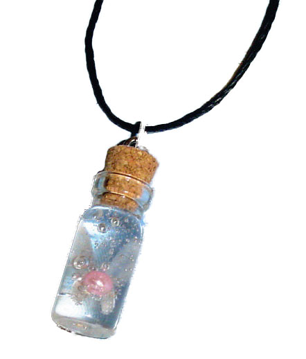 Legend of Zelda, Fairy in a Bottle Charm Necklace Pink