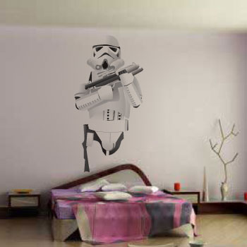"200cm 78"" Stormtrooper wall art. Contoured cut Easy to apply"